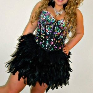 Jovoni short feather Party dress